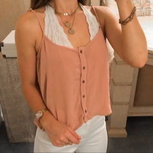 F21 • Pink Flowy Boho Button Down Tank Top Blouse
